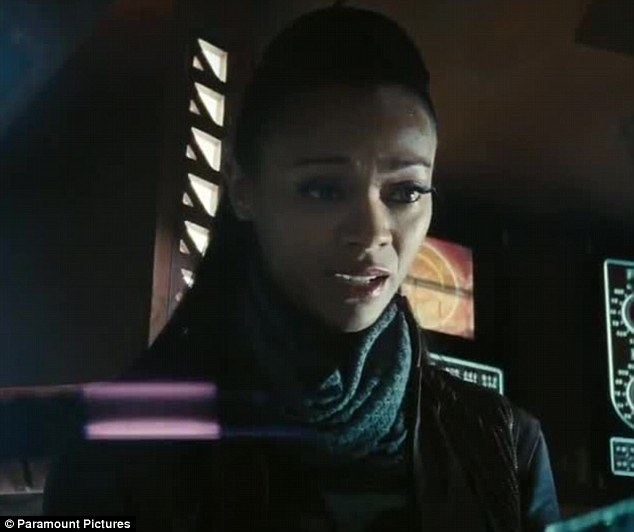 Rival: Alice will have to fend off stiff competition from Zoe Saldana if she wants to be the top Star Trek babe