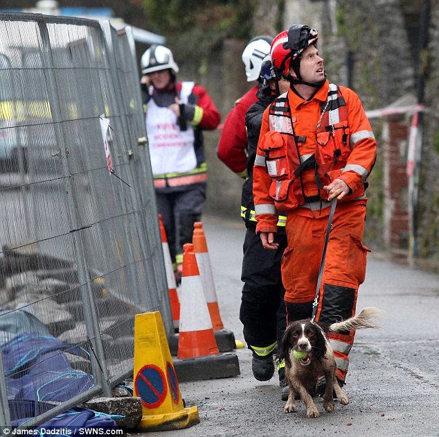 Search: A rescue team and sniffer dog have attended the scene looking for a missing resident