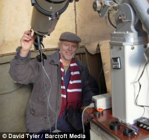 David Tyler and the equipment he used to take pictures of the sun in High Wycombe