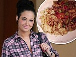 Tulisa shows off her takeaway on Thursday in LA