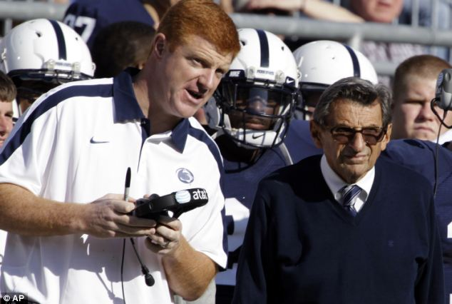 Denial: Sandusky said whistleblower Mike McQueary, left, 'didn't understand' his showers with young boys while late head coach Joe Paterno (right) might not have let him keep coaching if he suspected child abuse