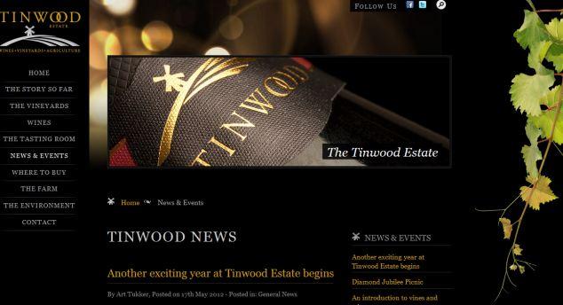 Art Tukker's website for his Tinwood Estate wines