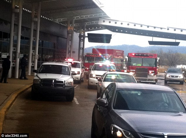 Crews: Emergency crews rushed to the scene just after 1.30pm on Friday, indefinitely closing off the airport terminal