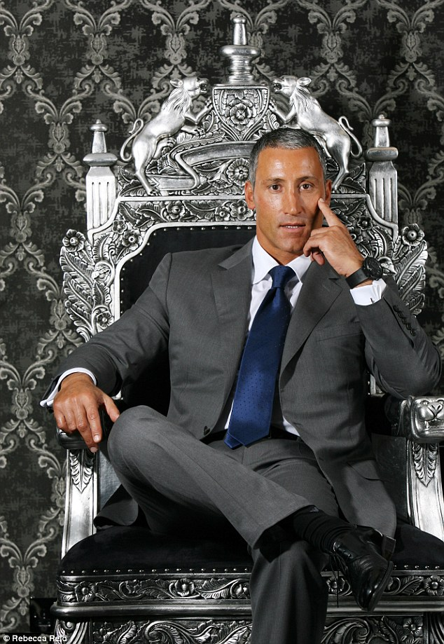 Andreas Panayiotou sitting on his throne at the offices of his business The Ability Group