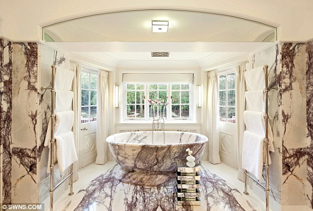 The marble bathroom at heath Hall. It has been claimed that Andreas is an example of why money cannot buy taste