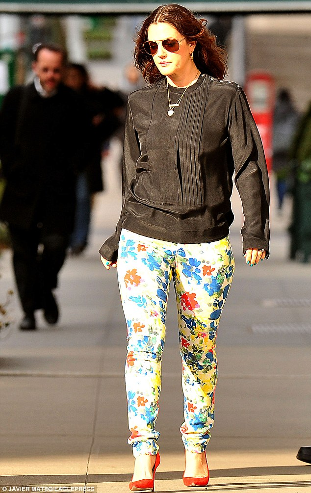 Spring fever: On Thursday, Drew was dressed for the season, wearing floral print trousers