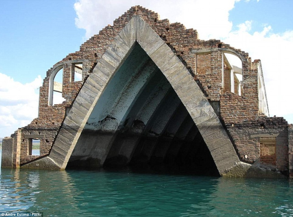 Set in stone: Church of Old Petrolandia, Brazil, is  the only thing left standing after the town was moved to make way for a dam