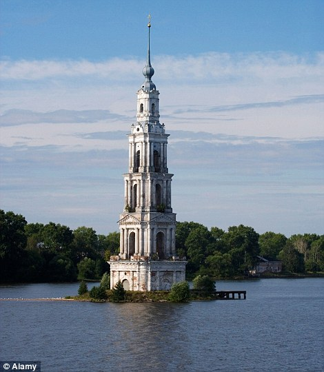 Belltower of St. Nicholas cathedral in the town of Kalyazin