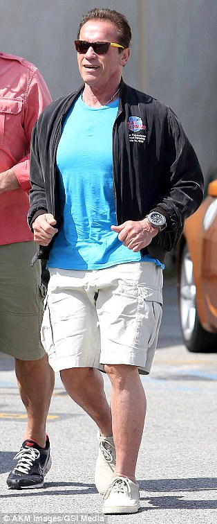 Missed connection: Arnold Schwarzenegger nearly bumped into ex  Maria Shriver at the Brentwood Country Mart in Los Angeles, on Friday