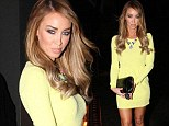 Brightening up the night sky: TOWIE's Lauren Pope slips her svelte frame into a canary mini-dress