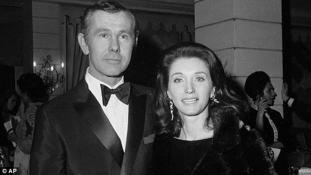 Old friends: Joanne Carson (here with then husband Johnny in 1969) possesses Capote's remains in her Bel Air home