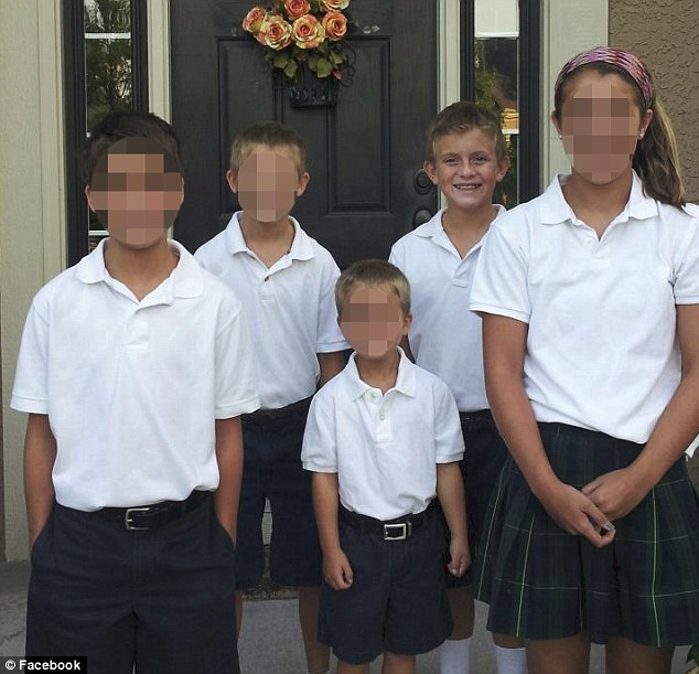 Family tragedy: Luke Bresette, 10, second from right was killed after an airport sign collapsed on him, his mom and two brothers