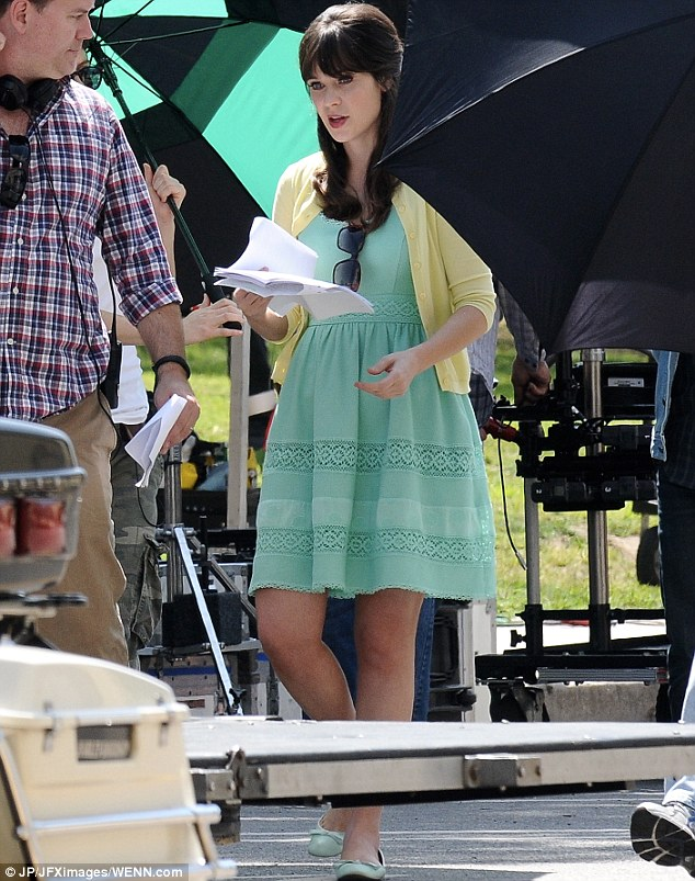 Line, please: The actress rehearsed her lines in between takes, hair perfectly in place throughout the filming