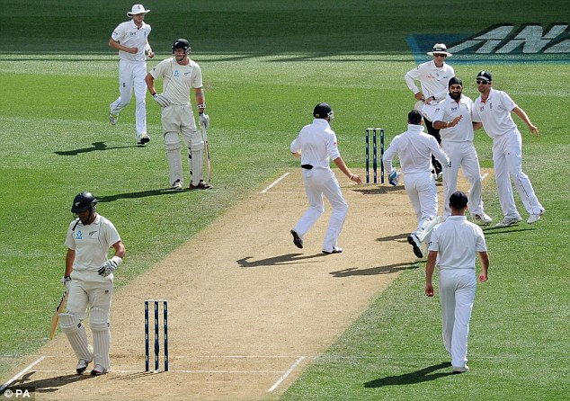 Caught and bowled: Monty Panesar took the wicket of Ross Taylor