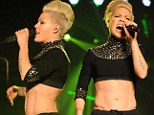 Pink flaunts her six-pack and 'pelvic V muscle' in crop-top at Madison Square Garden concert