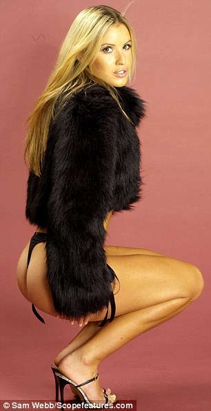 Charlie Webster, Model/actress and presenter posed with fur jacket and Lingerie Stylist: Marie McCaver