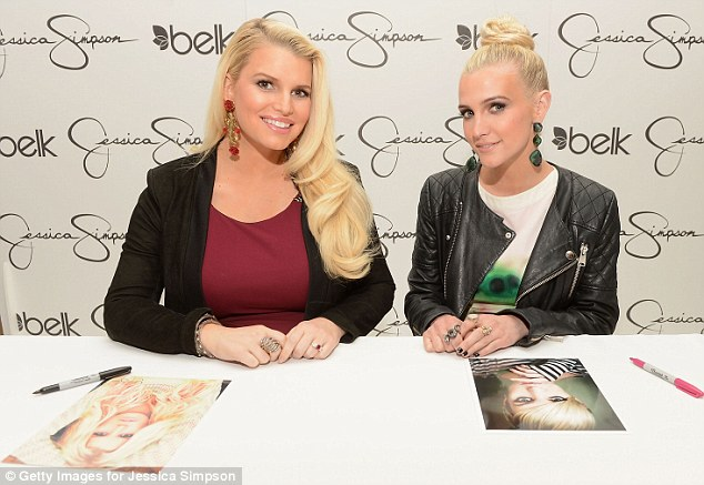 Sibling support: Ashlee and Jessica pictured at a launch event together in March