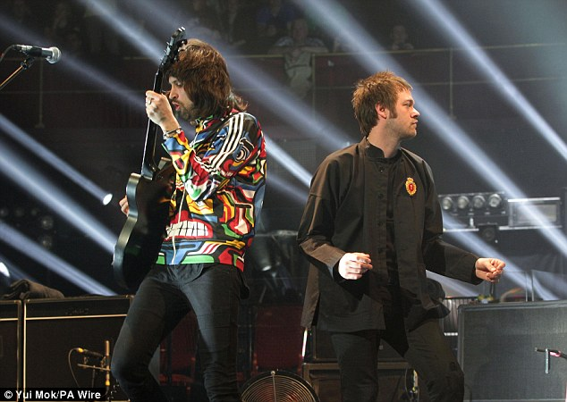 Their turn: Sergio Pizzorno and Tom Meighan of Kasabian seemed equally pleased to be playing their live set