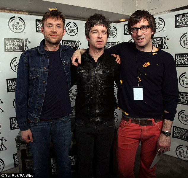 Cuddling up: Noel Gallagher curated the event and asked Damon to be part of it at the Royal Albert Hall