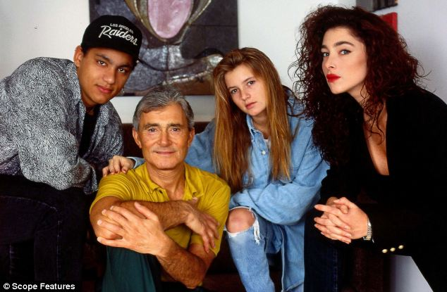 Vidal Sassoon and family in 1990. Disinherited David, left, Vidal Sassoon, centre, with daughters Eden and Catya