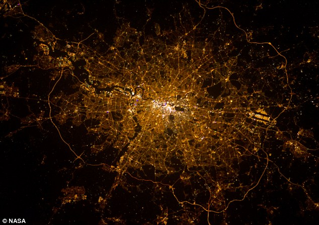London calling: Astronaut Chris Hadfield took this photograph of the British capital