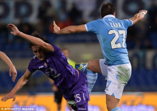 Moving on: Savic now plies his trade at Fiorentina after moving from Manchester City (below) where he had an error-prone season