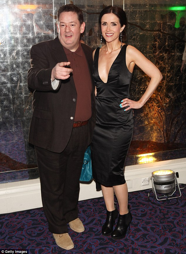 Entrance: Johnny Vegas posed with Maia Dunphy in a low cut black frock when he first walked into the bash
