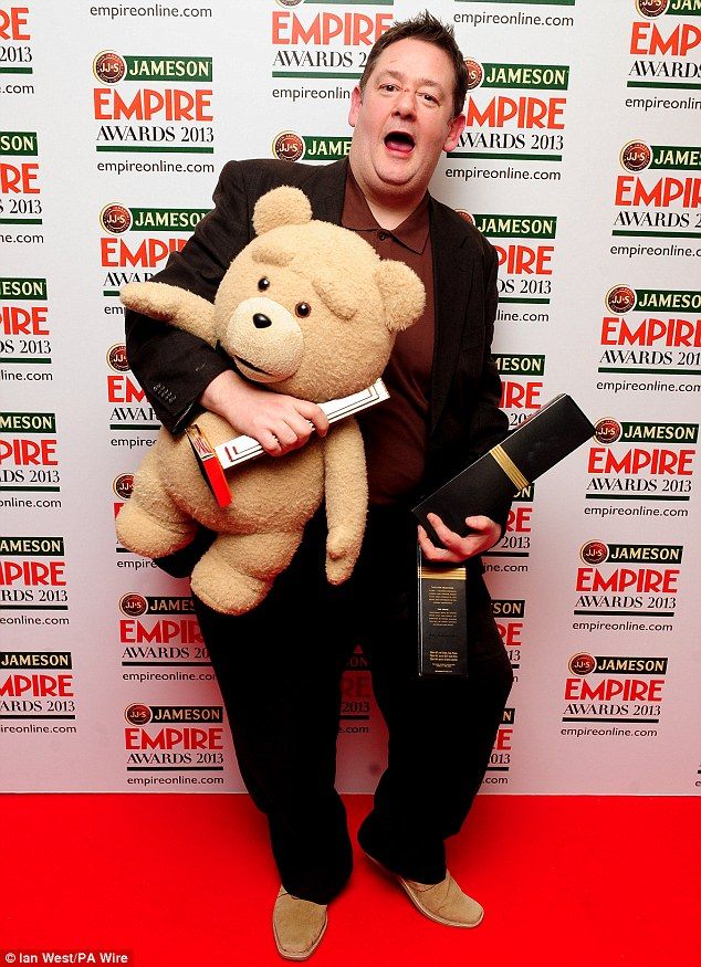 Winner! Funnyman Johnny Vegas joked around in the winners room after picking up the trophy for the Best Comedy Award on behalf of Ted