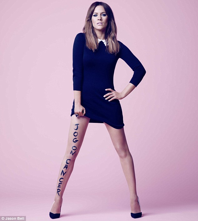 Good choice: They couldn't have picked a better person's legs to write on as Caroline is known for hers