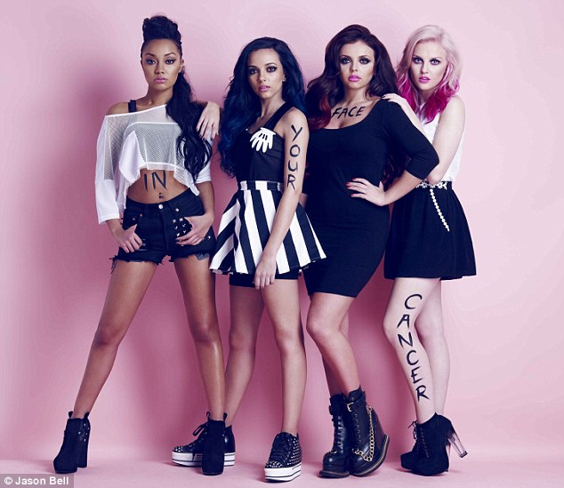 Mixing it up: Little Mix also appear in the campaign and have one word written on each of them
