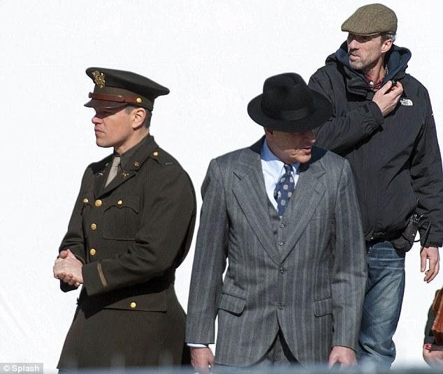 In character: Matt was also seen filming alongside fellow co-stars