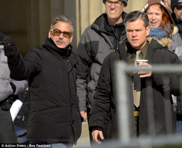 Coffee break: Matt was seen enjoying a cup of coffee as the pair made their way around the set
