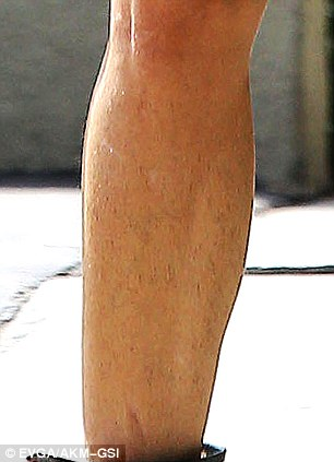 Hairy situation: The actress was seen sporting some very hairy legs