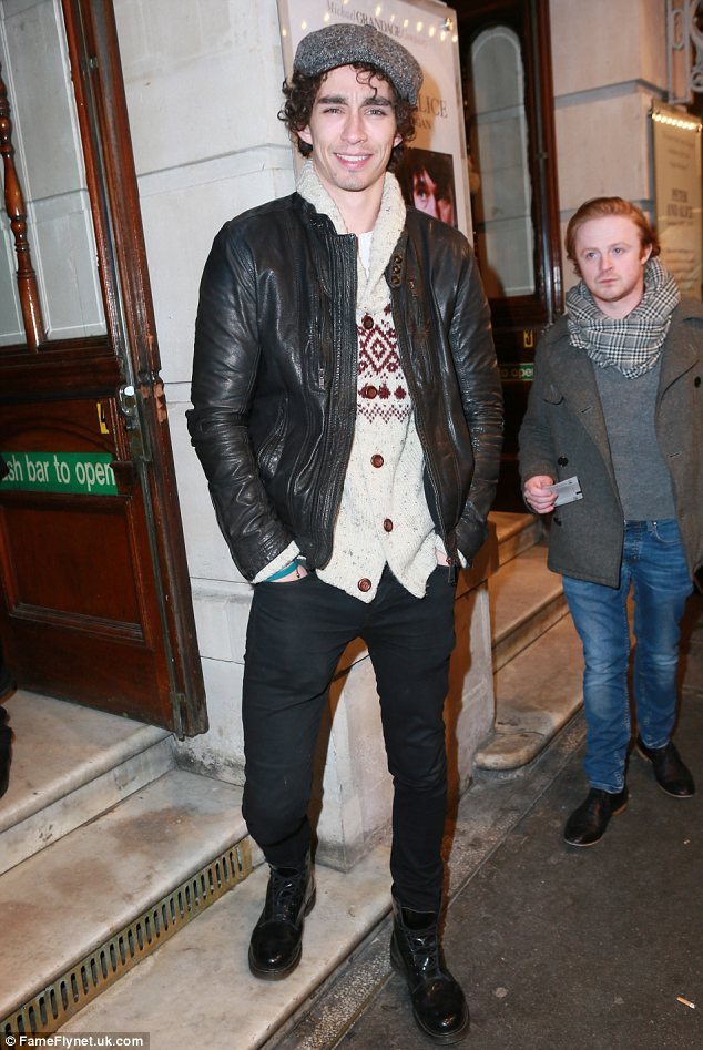 Festive: Robert Michael Sheehan reuses his Christmas jumper for the theatre night