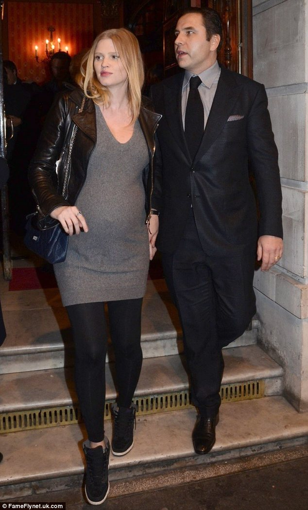Comfort: Lara was joined by her husband David Walliams and wore trainers to ease her feet
