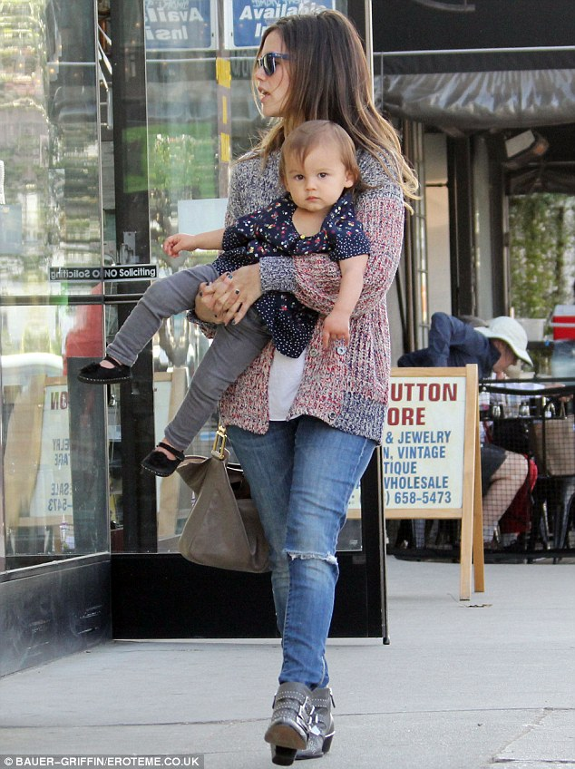 Window shopping! Rachel's goddaughter looked relaxed in her godmother's arms as they shopped