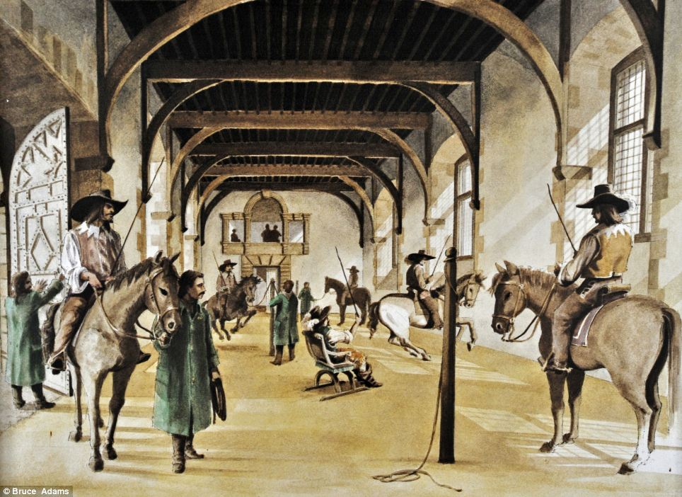 The original riding room at Bolsover Castle in Derbyshire (shown in this illustration) is once again being used for haute ecole 300 years on