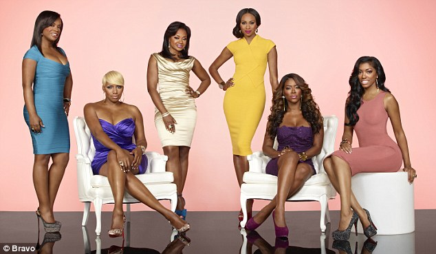 TV star: Porsha, seen far right, with her Real Housewives Of Atlanta co-stars, from left Kandi Burruss, NeNe Leakes, Phaedra Parks, Cynthia Bailey and Kenya Moore