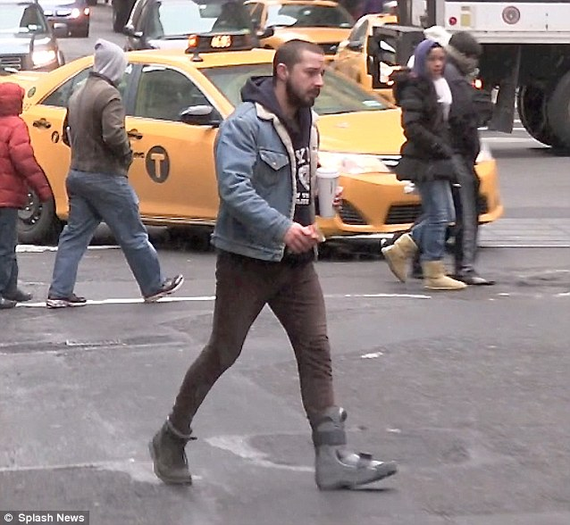 Ouch! Shia LaBeouf was spotted out in New York on Tuesday wearing a large medical boot on his foot, after an apparent injury during one of his kickboxing classes
