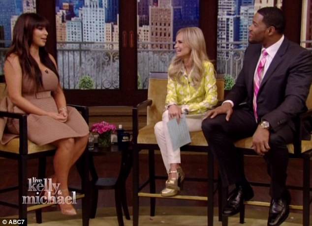 Weighty issue: Kim Kardashian appeared on Live! With Kelly and Michael in New York on Tuesday, where Kristin Chenoweth was filling in for Ripa