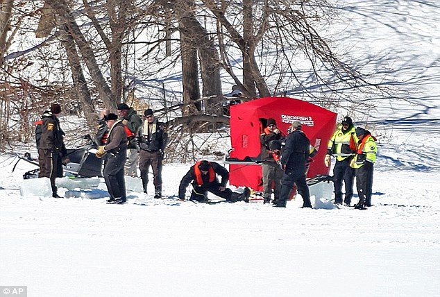 New leads: Last week, officials discovered a hole in the frozen lake after two witnesses came forward saying that they saw a pair of men carrying what appeared to be a human body in the area
