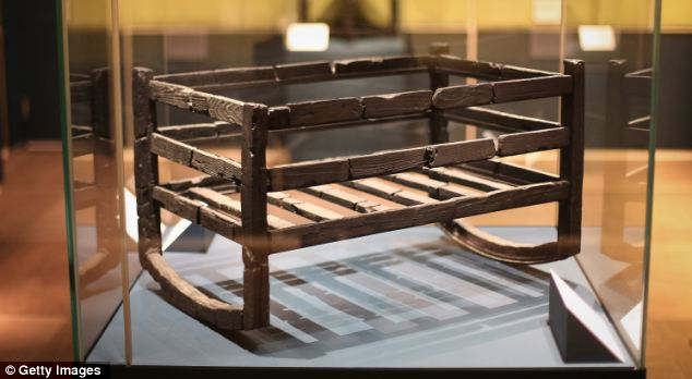 Poignant: The blackened cradle where a baby's bones were discovered in Herculaneum
