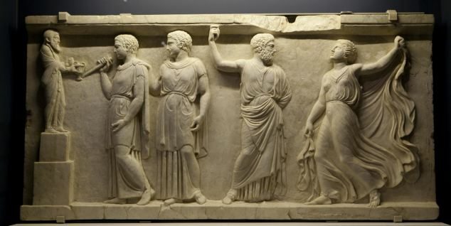 Beautiful: An impressive piece of carved masonry that makes up part of the Pompeii exhibition which runs until September