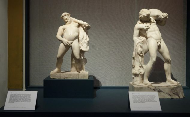 Relics: A statue of Hercules (left) and a Satyr (right) are part of the 'Life and death in Pompeii and Herculaneum'