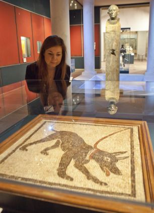 Preview: A visitor to the exhibition looks at a mosaic of a dog