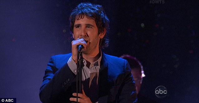 Taking the mic: Josh Groban performed his current single Brave on the show