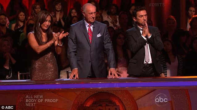 Standing ovation: Judges Carrie Ann Inaba, Len Goodman and Bruno Tonioli gave Dorothy a standing ovation for her performances so far