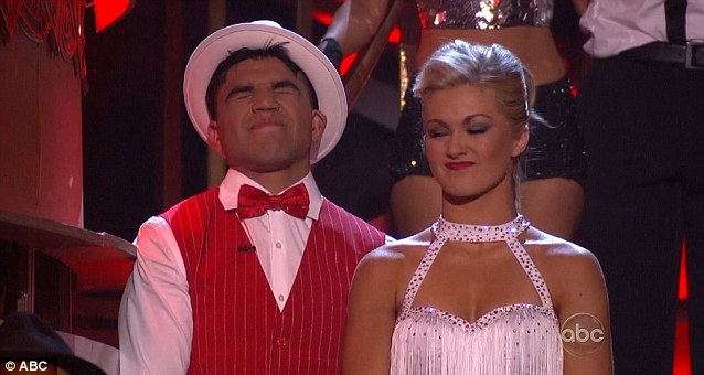 Down but not out: Victor Ortiz and partner Lindsay Arnold were disappointed to be told they were in jeopardy