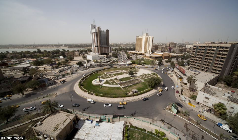 Now: The Ishtar (locally known as Sheraton) and Palestine Hotels stand next to Firdos Square where the statue of Saddam Hussein was pulled down by US forces almost a decade ago