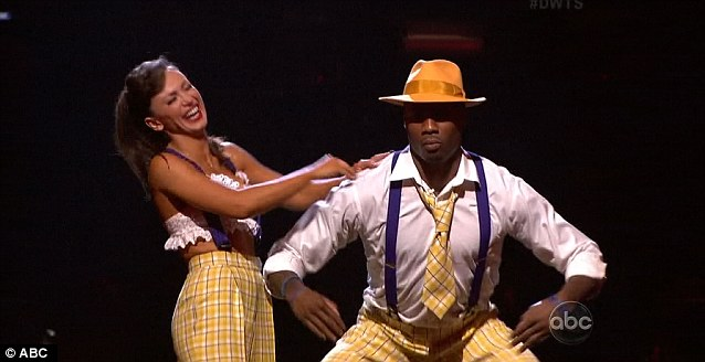 Looking good: American football player Jacoby Jones and Karina Smirnoff were put through after a solid performance on Monday